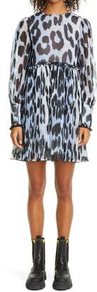 Ganni Long Sleeve Pleated Georgette Dress