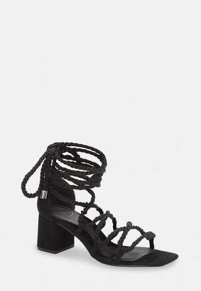 Missguided Black Rope Lace Up Mid Heeled Sandals