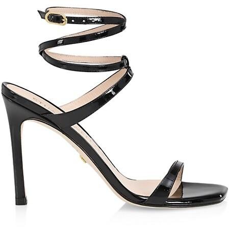 Stuart Weitzman Ellsie Ankle-Wrap Patent Leather Sandals