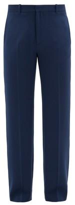Balenciaga Logo-embroidered Stretch-gabardine Trousers - Blue