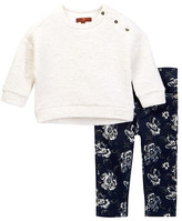 7 For All Mankind Drop Shoulder Top & Skinny Pant Set (Baby Girls)
