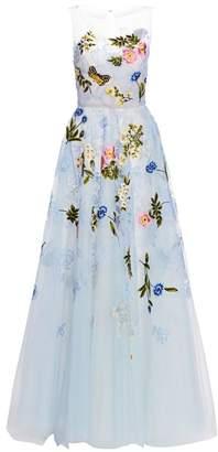 Oscar de la Renta Strapless Floral Applique Tulle Gown