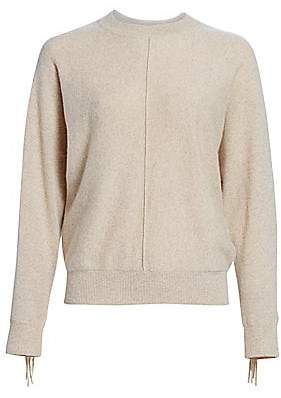 Minnie Rose Women's Cashmere Fringe Sweater