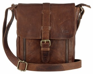 Mou Meraki Genuine Leather Brown Crossbody Purse and Handbags - Crossover Bag Over the Shoulder