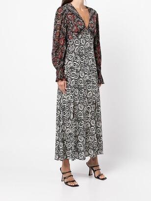 Rixo Paisley Floral Silk Dress
