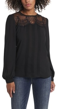 Vince Camuto Women's Lace Yoke Pleated Front Blouse