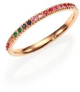 Sydney Evan Multicolor Sapphire, Ruby, Emerald & 14K Rose Gold Rainbow Eternity Band Ring