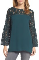Halogen Petite Women's Lace Bell Sleeve Top