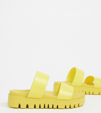 ASOS DESIGN Wide Fit Fletch chunky jelly flat sandals in yellow