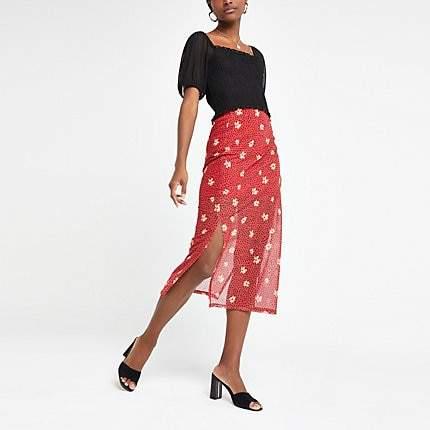River Island Red floral print mesh midi skirt