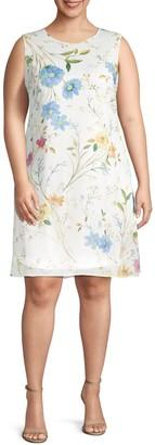 Calvin Klein Plus Floral-Print Chiffon Dress