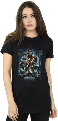 Absolute Cult Marvel Women's Black Panther Movie Poster Boyfriend Fit T-Shirt Black Small
