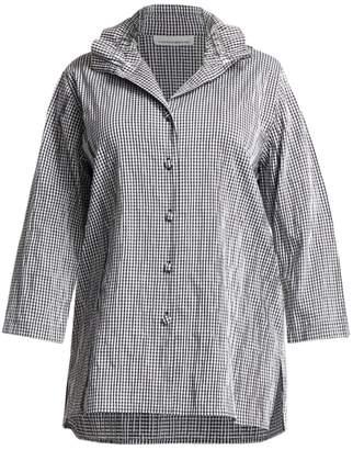 Caroline Rose Caroline Rose, Plus Size Crinkle Gingham Button-Down Shirt