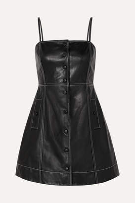 Ganni Smocked Leather Mini Dress - Black