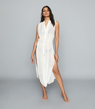 Reiss HAVANA RESORT SLEEVELESS SHIRT DRESS Ivory