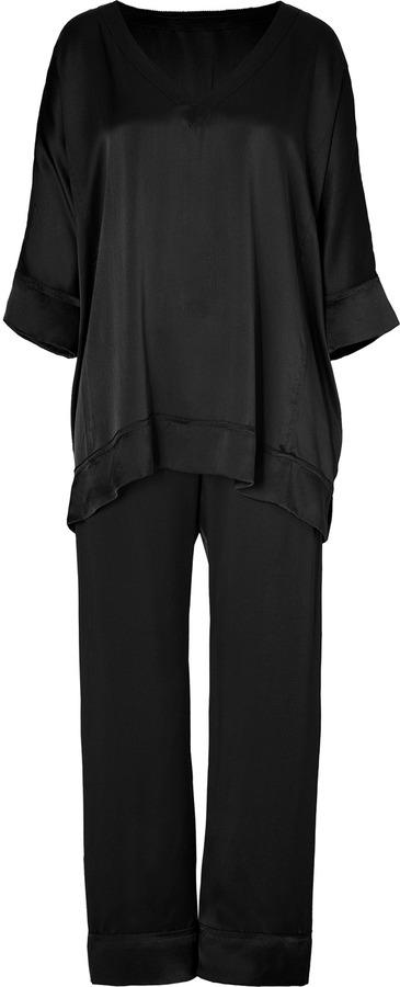 Donna Karan Intimates Black Glamour Silk Pajamas