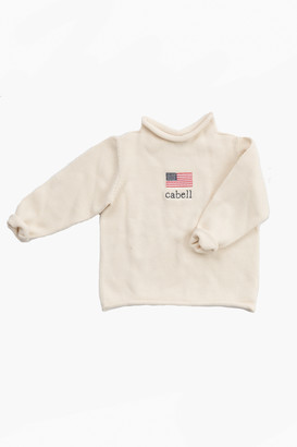 A Soft Idea Natural American Flag Roll Neck Sweater