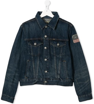 Ralph Lauren Kids TEEN flag patch denim jacket