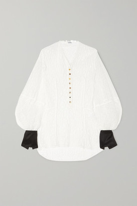 Loewe Satin-trimmed Corded Lace Blouse - White