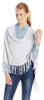Minnie Rose Women's Cotton Fringe Ruana Sweater