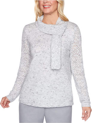 Alfred Dunner Petite Lake Geneva Pointelle Sweater With Scarf
