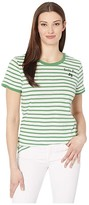 Lucky Brand Short Sleeve Crew Neck Lucky You Striped Tee (Green Multi) Women's Clothing
