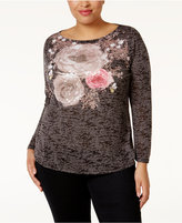 INC International Concepts Plus Size Sequined Burnout Top, Only at Macy's