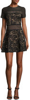 BCBGMAXAZRIA Eleanor Short-Sleeve A-Line Lace Combo Dress, Black