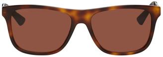 Gucci Tortoiseshell and Red Rectangular Sunglasses