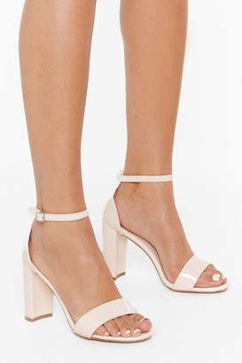 Nasty Gal Womens Be Patent Faux Leather Block Heels - Nude