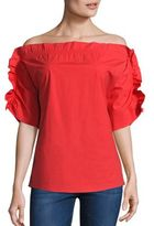 MSGM Ruffle Off-The-Shoulder Top