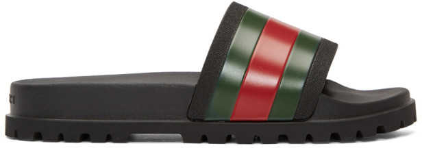 Gucci Black Trek Slides