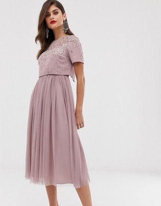 Asos Design DESIGN midi dress with embellished crop top and mesh skirt-Pink