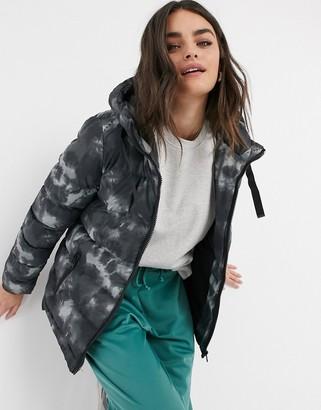 AX Paris cropped puffer coat in tie-dye