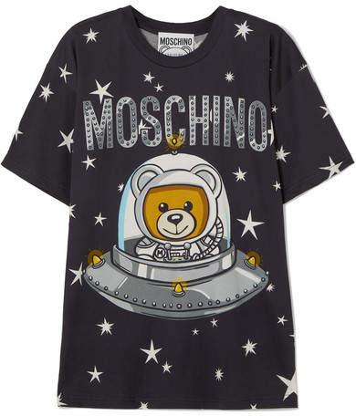 Moschino Oversized Printed Cotton-jersey T-shirt - Black