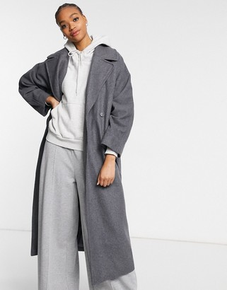 Weekday Kia longline tailored coat with tie waist in grey