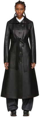 Loewe Black Leather Patch Pocket Coat