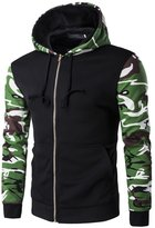 JJCat Men's Long Sleeve Hooded Patchwork Camouflage Cotton Casual Zip-up Hoodies(M(TAG:XL),)