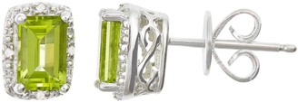 Sterling Silver Peridot & Diamond Accent Rectangle Halo Stud Earrings