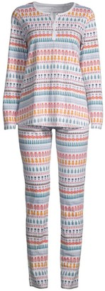 Roller Rabbit Two-Piece Animal Print Pajama Set