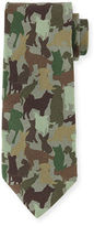 Etro Silk Dog Camo-Print Tie, Green Multi