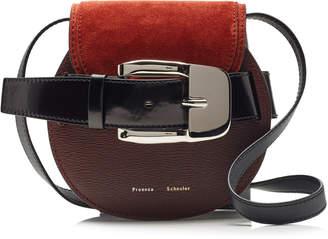 Proenza Schouler Buckle Mini Suede-Paneled Leather Crossbody Bag