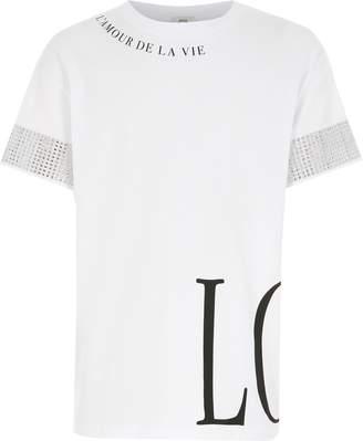 River Island Girls White printed diamante sleeve T-shirt