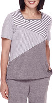 Alfred Dunner Acadia Short-Sleeve Spliced Striped Top