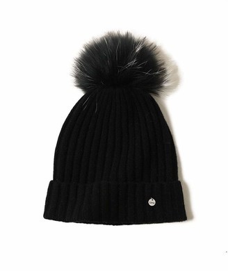 SANSUILOKE 100% Cashmere Knit Beanie Hat for Women Fur Pom-Pom Hat for Ladies Cuffed Beanie Pure Cashmere Knitted Caps for Cold Weather (Black)