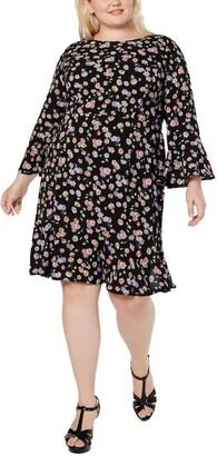 Betsey Johnson Women's Size Floral Bell Sleeve Dress (Plus)