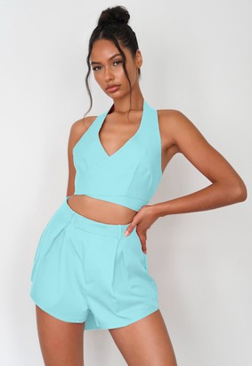 Missguided Petite Turquoise Co Ord Pleated Shorts