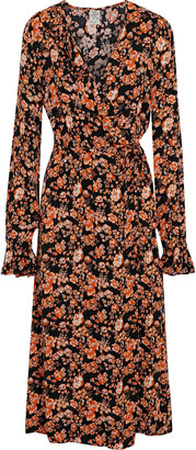 Baum und Pferdgarten Annamay Ruffled Printed Crepe Midi Wrap Dress