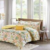 4pc Girls Summer Time Flower Theme Comforter Twin XL Set, Orange Yellow Blue White, Bright Geometric Floral Medallion Bedding, Girly Garden Inspired Flowers Themed Pattern