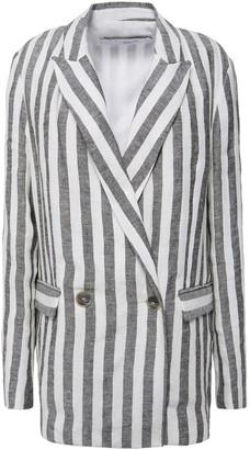 IRO Sailor Double-breasted Striped Linen Blazer